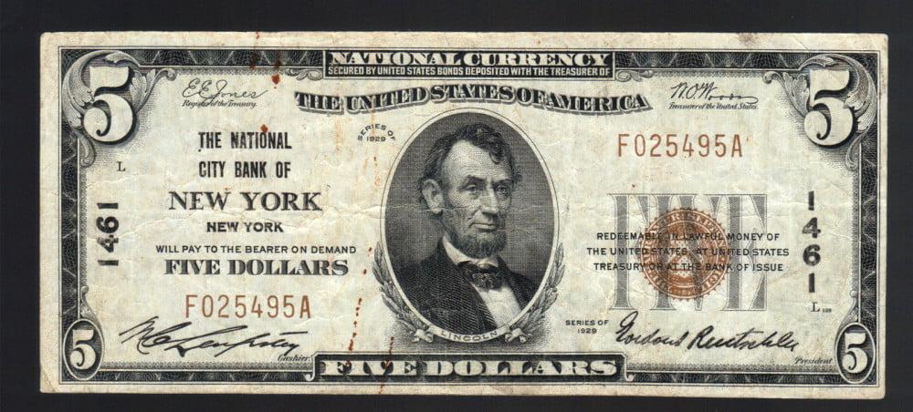 5-DOLLAR-1929-NATIONAL-CITY-BANK-NEW-YORK