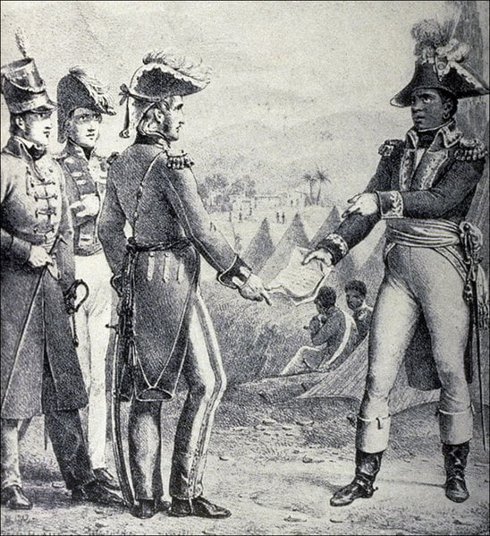 Louverture signs a secret alliance treaty with England and the United States.